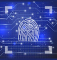 fingerprint on blue background vector image