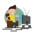 Man watching television vector image