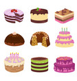 birthday party tasty cakes anniversary vector image