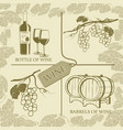 set symbols on the theme of grapes white wine and vector image