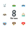 flat icon animal set of puppy bunny fishbowl and vector image vector image