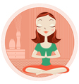 Yoga woman in lotus poses vector image vector image