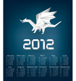 2012 year calendar with origami dragon vector image