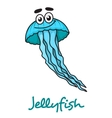 Cartoon blue jellyfish character vector image vector image