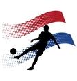 czech soccer player against national flag vector image vector image