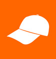 baseball cap white icon vector image