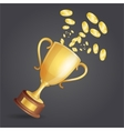 golden winner cup and coins on dark vector image