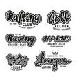 Set of vintage lettering logo rafting diving golf vector image