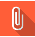 Colorful paper clip icon in modern flat style with vector image