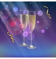 Champagne glasses and streamer with rays of light vector image