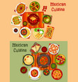 mexican cuisine national dinner dishes icon set vector image vector image