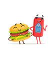 cute soda can and hamburger characters posing with vector image