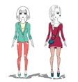 hand drawn fashion girl woman vector image