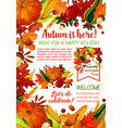 happy autumn holiday poster template vector image