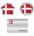 Home icon on the Denmark flag vector image