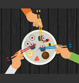 eating sushi flat design vector image