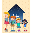 Siblings near the house vector image vector image