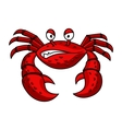 Cartoon red crab character vector image vector image