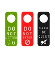 Do not litter enter be quiet door signs vector image