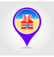Life jacket pin map icon Summer Vacation vector image