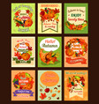 autumn leaf and fall harvest retro poster set vector image