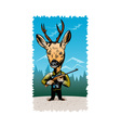 deer with hunting rifle vector image