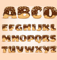 Frosted Chocolate Wafers Alphabet Letters Set vector image