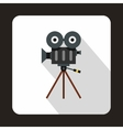 Retro cinema camera icon flat style vector image