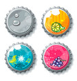 set of grunge metallic bottle caps vector image