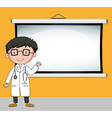 Doctor standing in front of white screen vector image vector image