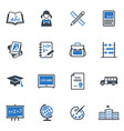 School and Education Icons Set 1 - Blue Series vector image vector image