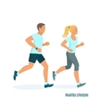 Running man and woman vector image vector image