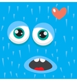 Blue monster face cartoon personage vector image