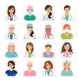 female doctors and nurses avatars set vector image