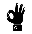 hand ok icon black sign on vector image