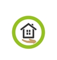 house icon on the palm vector image
