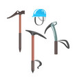 ice axes and blue helmet equipment for vector image