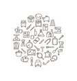 cooking food in kitchen outline icons vector image