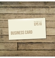 template white Business card on the wooden table vector image