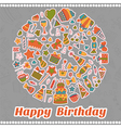 Happy Birthday card Hand drawn birthday elements vector image