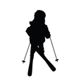 child with skis silhouette vector image