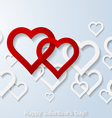 Abstract two flying red hearts vector image