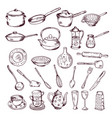 hand drawn of kitchen tools vector image