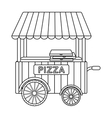 Pizza cart icon in outline style isolated on white vector image