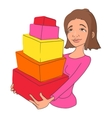 Girl with purchases icon cartoon style vector image vector image