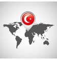 turkey flag pin map design vector image