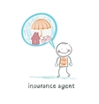 insurance agent is thinking about insurance vector image vector image