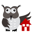 Concept of home insurance with house under owl vector image vector image