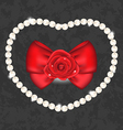 Red rose with bow and pearls for Valentine Day vector image vector image