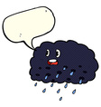 cartoon rain cloud with speech bubble vector image